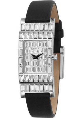 DKNY Crystal Lady Black Leather Strap