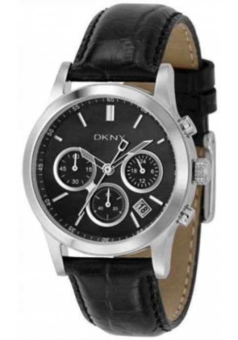 DKNY Chronograph Black Leather Strap
