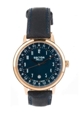 SECTOR CLASSIC Rose Gold Blue Leather Strap