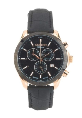 SECTOR CLASSIC Rose Gold Multifunction Black Leather Strap