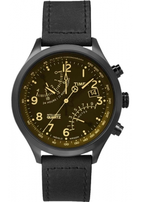 Timex Intelligent Quartz Fly-back Chrono Black Leather Strap