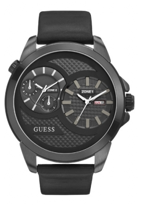 GUESS Dual Time Black Leather Strap