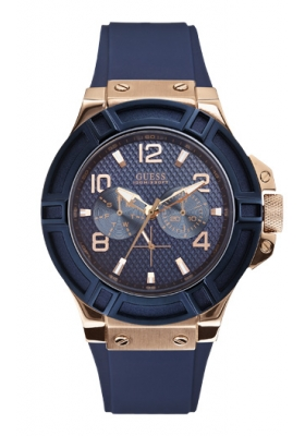 GUESS Men's Multifunction Rose Gold Blue Rubber Strap