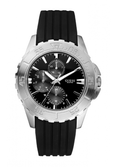 GUESS Stainless Steel Black Rubber Strap