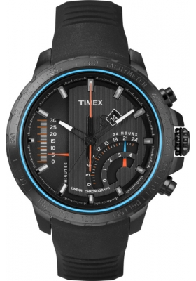TImex Inteligent Quartz Linear Chrono Black Rubber Strap