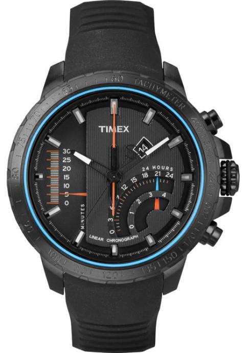 TImex Inteligent Quartz Linear Chrono Black Rubber Strap