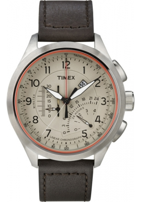 Timex Inteligent Quartz Linear Chrono Brown Leather Strap