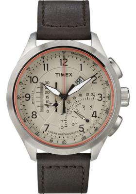 Timex Inteligent Quartz Linear Chrono Brown Leather Strap