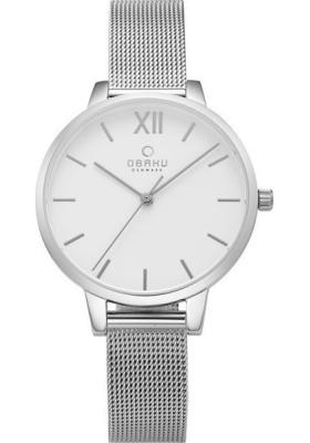 Ρολόι OBAKU Liv με ασημί μπρασελέ και λευκό καντράν V209LXCIMC