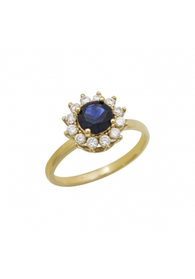 Δαχτυλίδι 14 Καράτια Χρυσο με Ζιργκον και Τουρμαλίνη